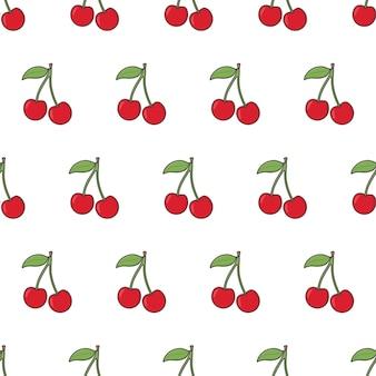 Kirschfrucht nahtloses muster. frische kirschbeere thema illustration