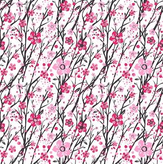 Kirschzweig kirschblütes japan mit blühenden blumen.