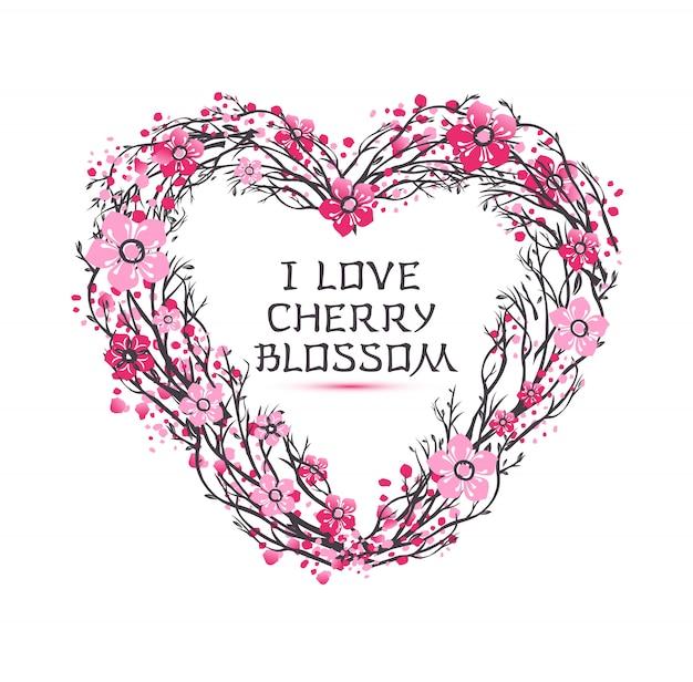 Kirschzweig kirschblütes japan mit blühenden blumen