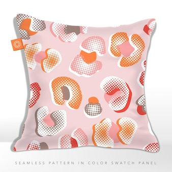 Kissen in pink und orange leopard seamless pattern halftone effect