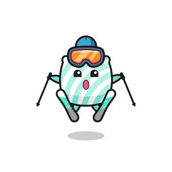 Kissen-maskottchen-charakter als skispieler, süßes stildesign für t-shirt, aufkleber, logo-element