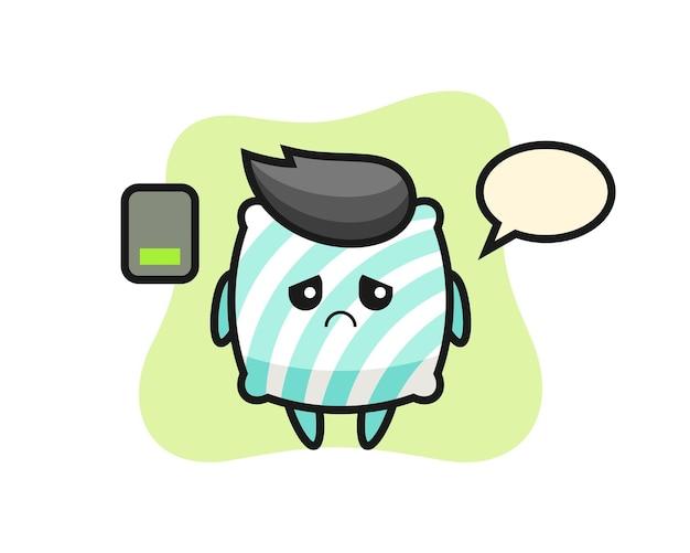 Kissen-maskottchen-charakter, der eine müde geste macht, süßes stildesign für t-shirt, aufkleber, logo-element