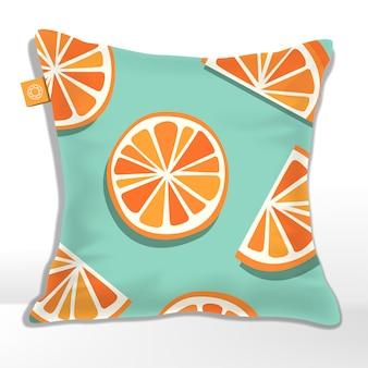 Kissen oder kissen mit orange, grapefruit, mandarine oder clementine muster gedruckt