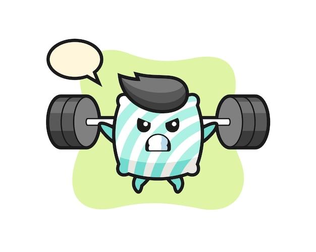 Kissenmaskottchen-cartoon mit einer langhantel, süßes design für t-shirt, aufkleber, logo-element