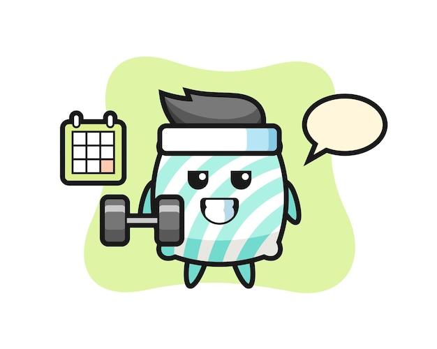 Kissenmaskottchen-karikatur, die fitness mit hantel macht, niedliches design für t-shirt, aufkleber, logo-element