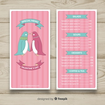 Kissing penguins valentine menüvorlage