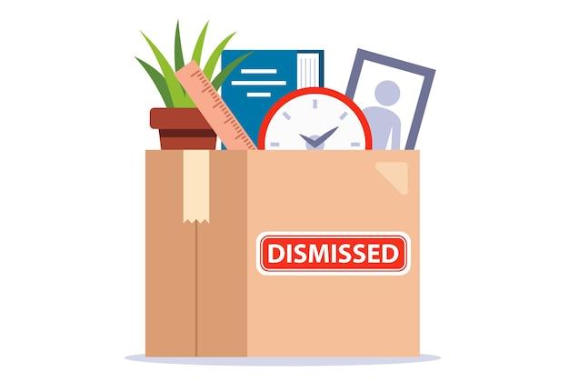 Kiste mit persönlichen gegenständen des entlassenen arbeitnehmers. jobverlust. flache vektorillustration.