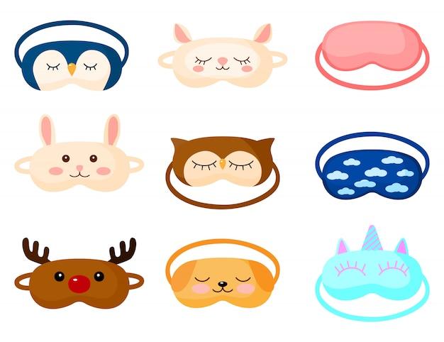 Kit kinderschlafmaske mit unterschiedlichem design auf weißem hintergrund. stellen sie gesichtsmaske für schlafenden menschen mit hund, hirsch, eule, schaf, kaninchen, pinguin, unicon und wolke ein