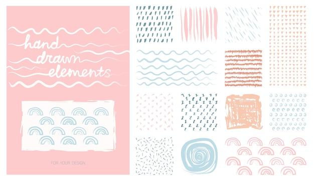 Kit pastell handgezeichnete künstlerische quadratische hintergründe und skizze mit abstrakten texturen