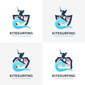 Kitesurfen design konzept illustration silhouette vektor
