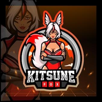Kitsune mädchen maskottchen esport logo-design