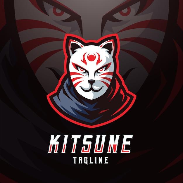 Kitsune-maske und sport-logo-vorlage