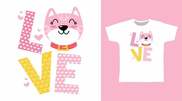 Kitty love typografie für t-shirt-design
