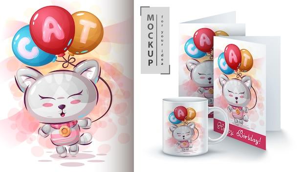 Kitty mit luftballonplakat und merchandising