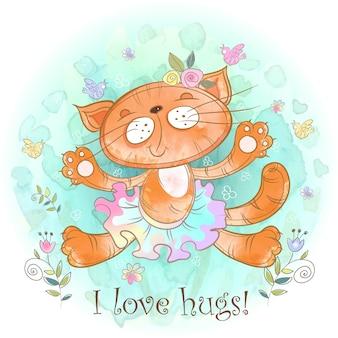 Kitty umarmung. katzenballerina liebt es zu kuscheln.
