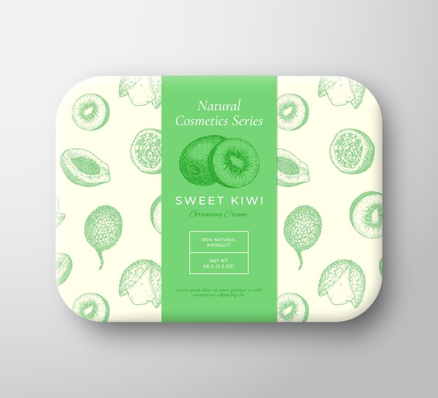 Kiwi-badekosmetik-paket-box abstrakter vektor verpackter papierbehälter mit etikettenabdeckung verpackung d ...