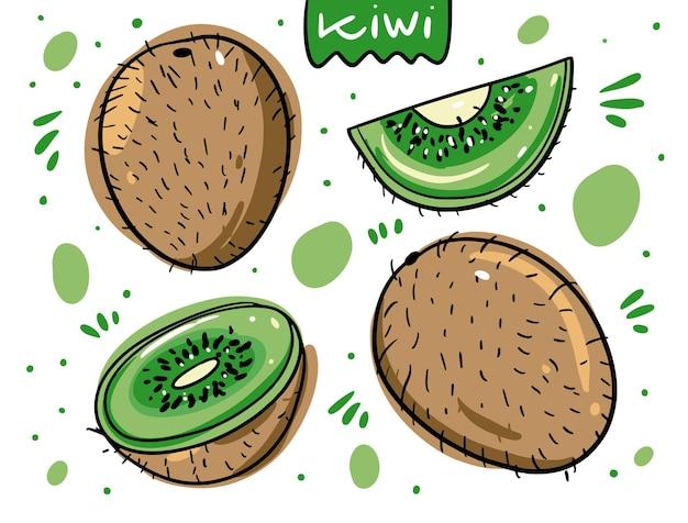 Kiwi-fruchtset. hand gezeichnet im karikaturstil.