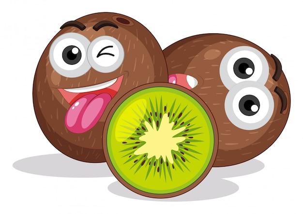 Kiwi fruit mit gesichtsausdruck