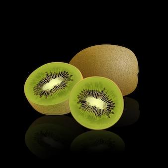 Kiwi getrennt auf schwarzem, vektorabbildung.