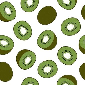 Kiwi, in scheiben geschnitten und ganze früchte. nahtloses muster auf weiß. flache vektorillustration. textur für druck, stoff, textil, tapete.
