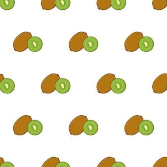 Kiwi-scheibe nahtloses muster auf einem weißen hintergrund. kiwi-thema-vektor-illustration