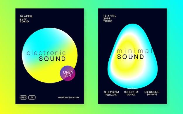 Klangparty. modernes trance-plakat. disco und nachtleben-vektor. heller glitch für die präsentation. grafischer hintergrund für broschüren-layout. party mit gelbem und türkisfarbenem sound