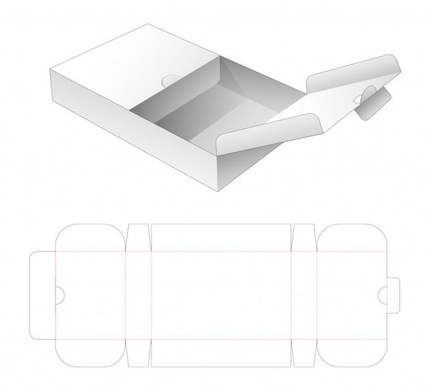 Klappenbox mit gestanzter schablone mit mittlerem öffnungspunkt