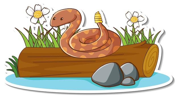Klapperschlange auf einem baumstamm mit naturelementaufkleber