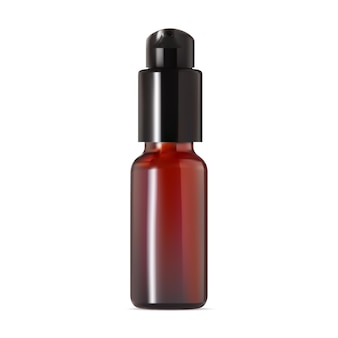 Klare bernsteinflasche. airless-pumpenbehältermodell. braunes serumspray aus kunststoff. spenderdose für behandlungsessenz. mini eye skin foundation verpackung, isoliert auf weiss