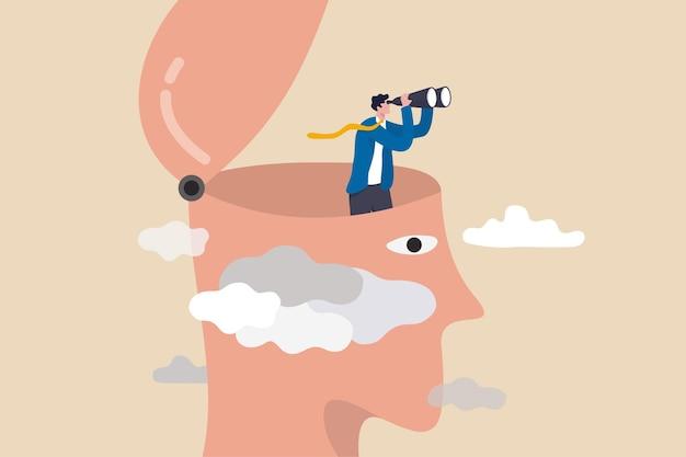 Klare geschäftsvision, um zukünftige chancen zu sehen, herausforderung, schwierigkeiten zu überwinden, ein echtes visionäres konzept zu sehen, intelligenter geschäftsmann mit fernglas öffnet seinen kopf über dem wolkensturm für klare sicht.