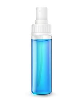 Klare plastikflasche sprühalkohol isoliert auf weißem hintergrund