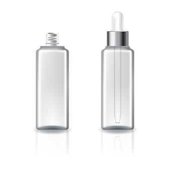 Klare quadratische kosmetikflasche mit silbernem deckel mit weißem tropfenzähler für schönheit oder gesundes produkt.