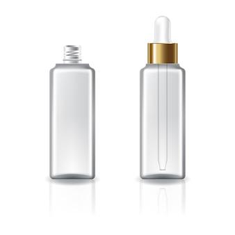 Klare quadratische kosmetikflasche mit weißem tropfergolddeckel für schönheit oder gesundes produkt.
