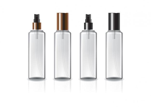Klare quadratische kosmetikflasche mit zweifarbigem kupfer-schwarzem sprühkopf.