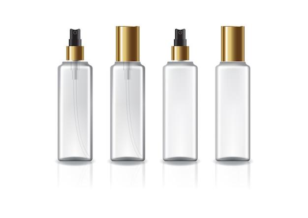 Klare und weiße quadratische kosmetikflasche mit goldenem sprühkopf und deckel für schönheit oder gesundes produkt. isoliert auf weißem hintergrund mit reflexionsschatten. gebrauchsfertig für das verpackungsdesign.