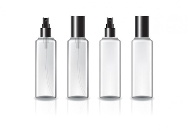 Klare und weiße quadratische kosmetikflasche mit schwarzem sprühkopf und deckel.