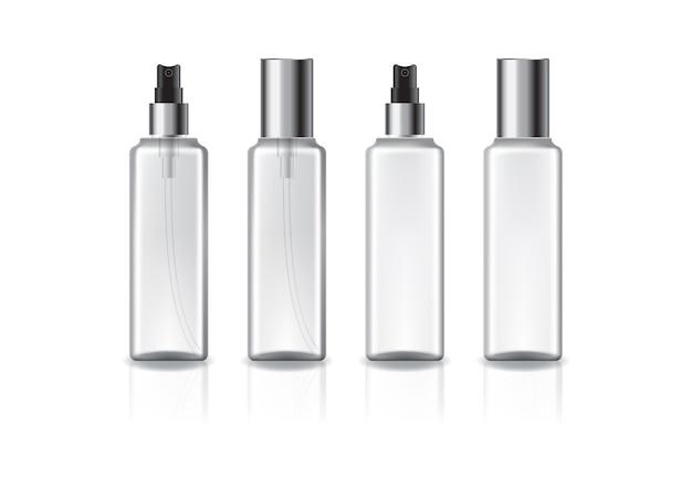 Klare und weiße quadratische kosmetikflasche mit silbernem sprühkopf und deckel für schönheit oder gesundes produkt. isoliert auf weißem hintergrund mit reflexionsschatten. gebrauchsfertig für das verpackungsdesign.