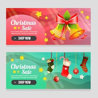 Klare weihnachtsschablone mit zwei fahnen mit verzierter glocke
