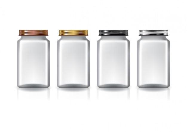 Klarer, mittelhoher quadratischer behälter mit schraubdeckel mit vier farben.