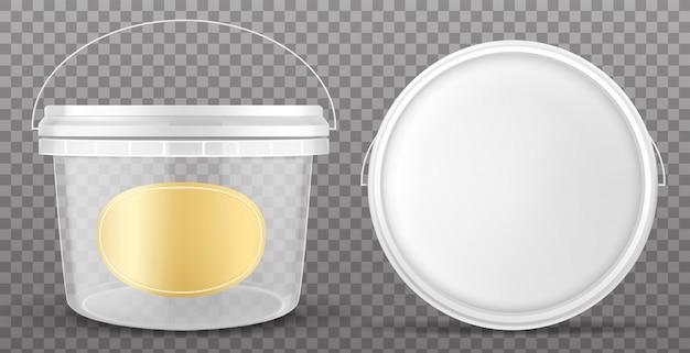 Klarer plastikeimer mit gelbem etikett und weißem deckel