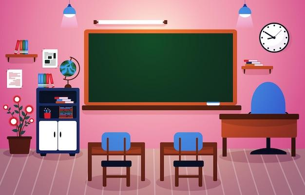 Klasse schule niemand klassenzimmer tafel tisch stuhl bildung illustration