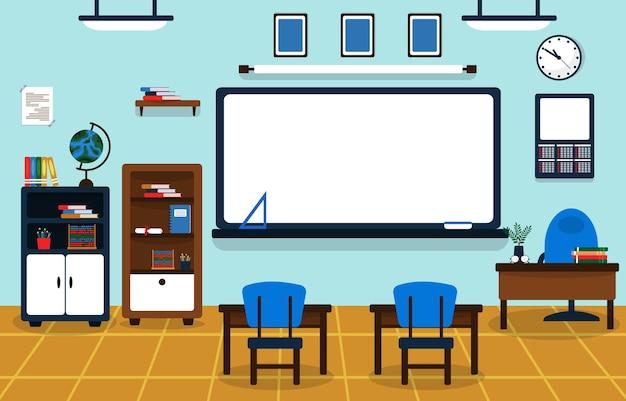 Klasse schule niemand klassenzimmer whiteboard tisch stuhl bildung illustration
