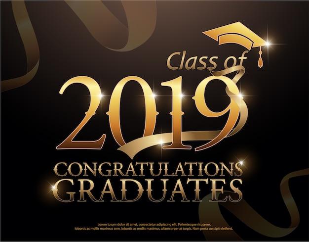 Klasse von 2019 glückwünsche graduiert goldtext mit goldenen bändern