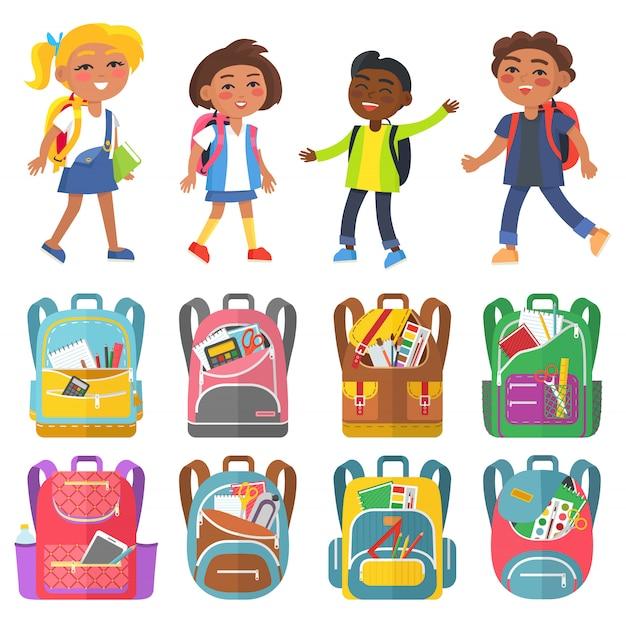 Klassenkameraden und rucksack sticker set