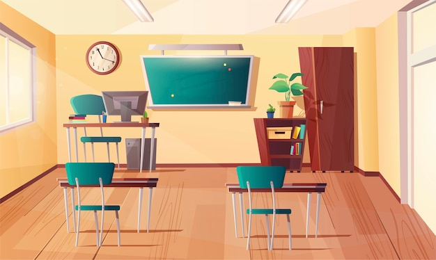 Klassenzimmer cartoon interieur mit tafel, uhr an der wand, monitor, schreibtische, lehrertisch, bücher.