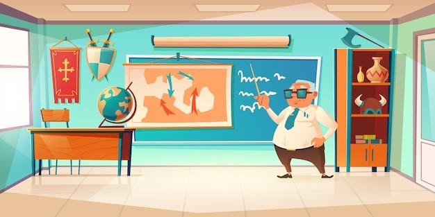 Klassenzimmer für geschichtsfach mit altem lehrer