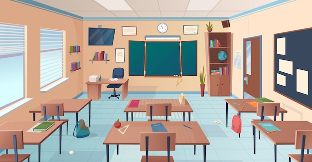 Klassenzimmer interieur. schul- oder hochschulraum mit schreibtischtafel-lehrerartikeln für unterrichtskarikaturillustration