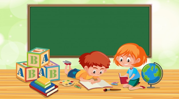 Klassenzimmer mit jungen- und mädchenlesebuch