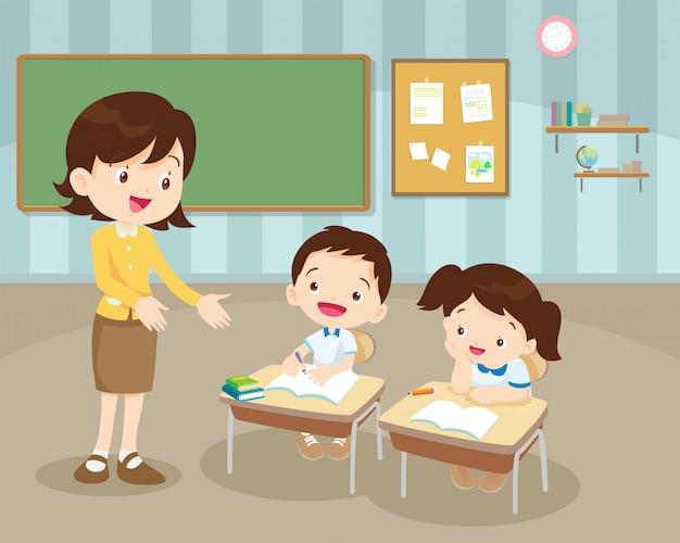 Klassenzimmer mit lehrer und schülern