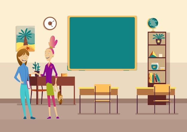 Klassenzimmer mit schülern. grundschulkinder. modernes interieur für die bildung. mädchen charaktere